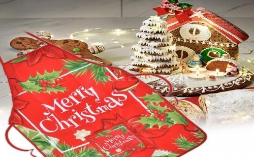 Червена Коледна Престилка Merry Christmas