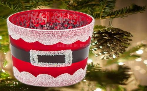 Стъклена Поставка за Свещ Коледен Костюм