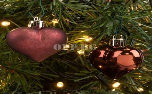 Сет от 6 Броя Мини Коледни Сърца за Декорация