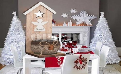 Винтидж Дървен Коледен Свещник