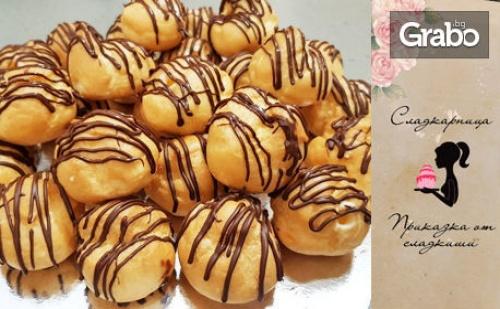 50 Броя Мини Еклерчета с Пълнеж от Ванилов Крем, Поръсени с Шоколад