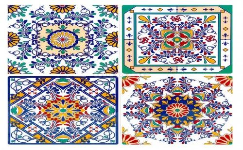 Комплект 4 Броя Декоративни Винтидж Стикери за Плочки Цветни