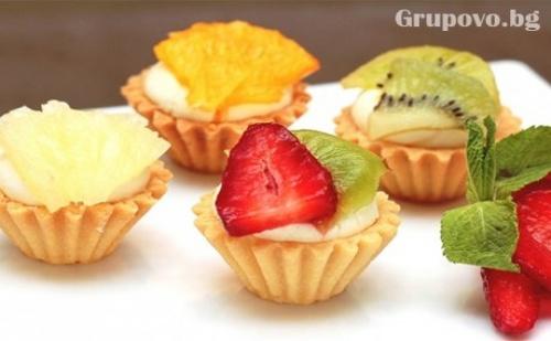 Сладки Тарталети с Течен Шоколад или Баварски Крем и Пресни Плодове от H&d Кетъринг