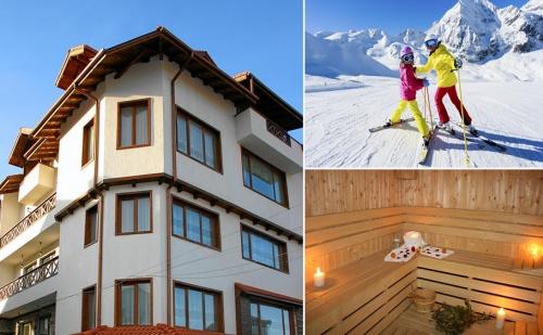 Зимна Почивка в Банско. Нощувка, Закуска и Вечеря + Сауна и Урок по Ски или Сноуборд от Хотел Корина Скай!