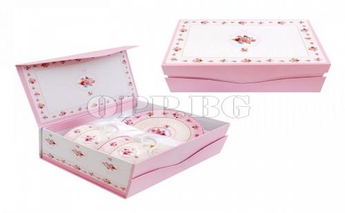 Супер Луксозен Сервиз за Чай Рози в Подаръчна Кутия