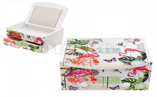 Кутия за Бижута с Чекмеджета и Огледало Фламинго