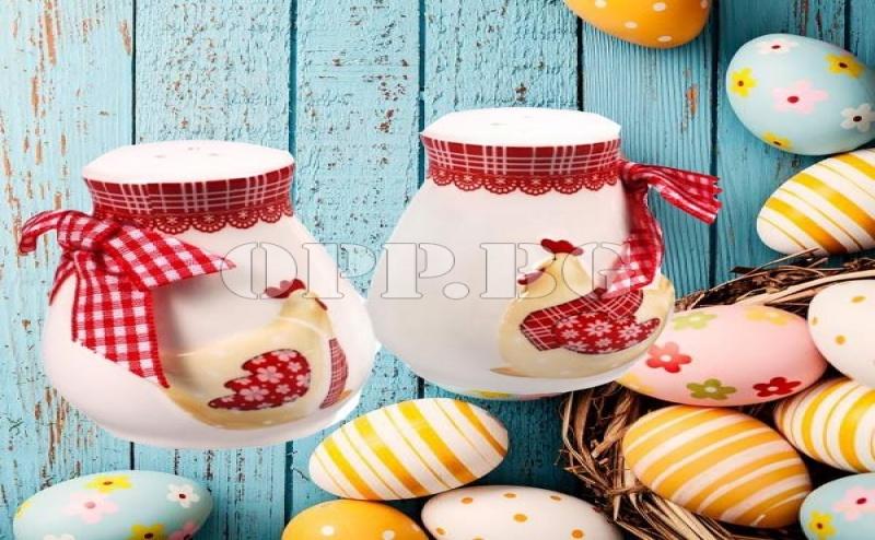 2 Броя Оригинални Керамични Великденски Солници Кокошка