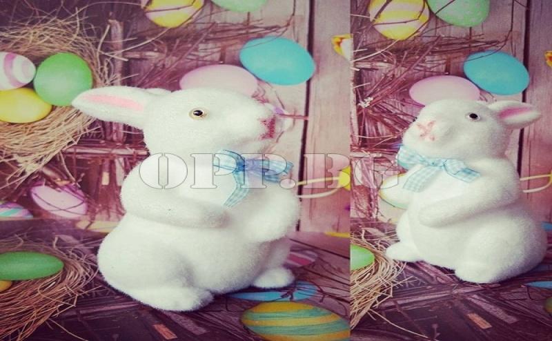 Великденско Бяло Зайче за Декорация