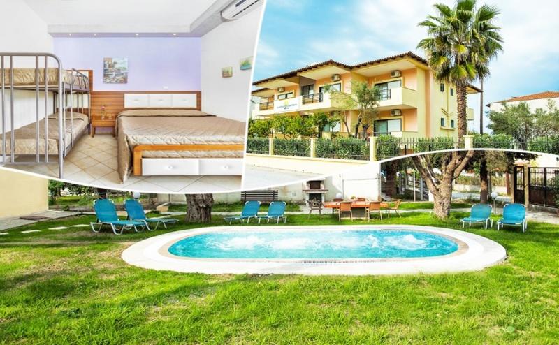 Семейна почивка на 250м. от  плажа в Пефкохори, Халкидики! Нощувка за двама с едно или две деца със закуска + басейн в Lemon Garden Vila