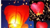 3 бр летящи фенери с форма на сърце